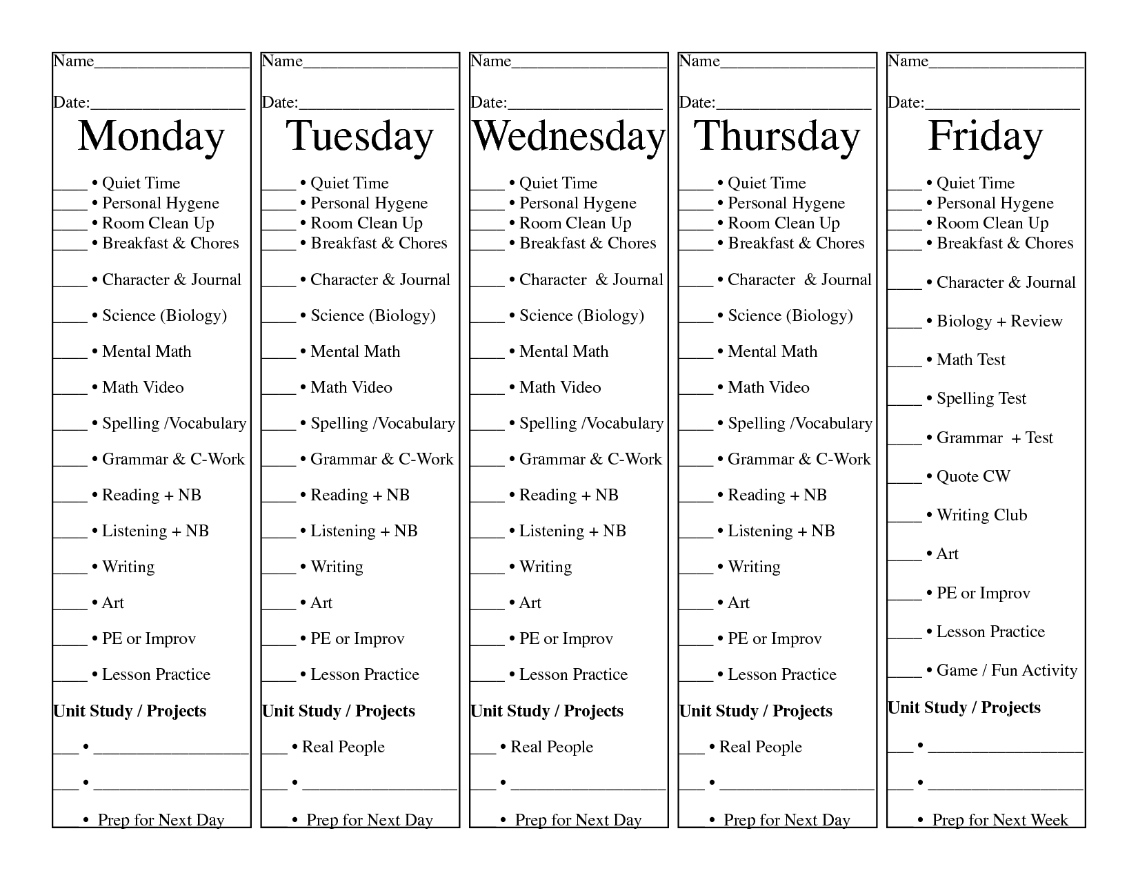 Homeschool Daily Check List. 5 Days On 1 Sheet Of Paper. Tear And for 5 Day Work Schedule Template