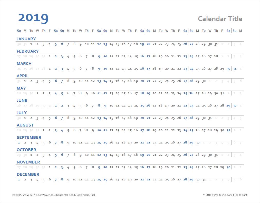 Horizontal Yearly Calendar Templates regarding Annual Calendar Template Excel