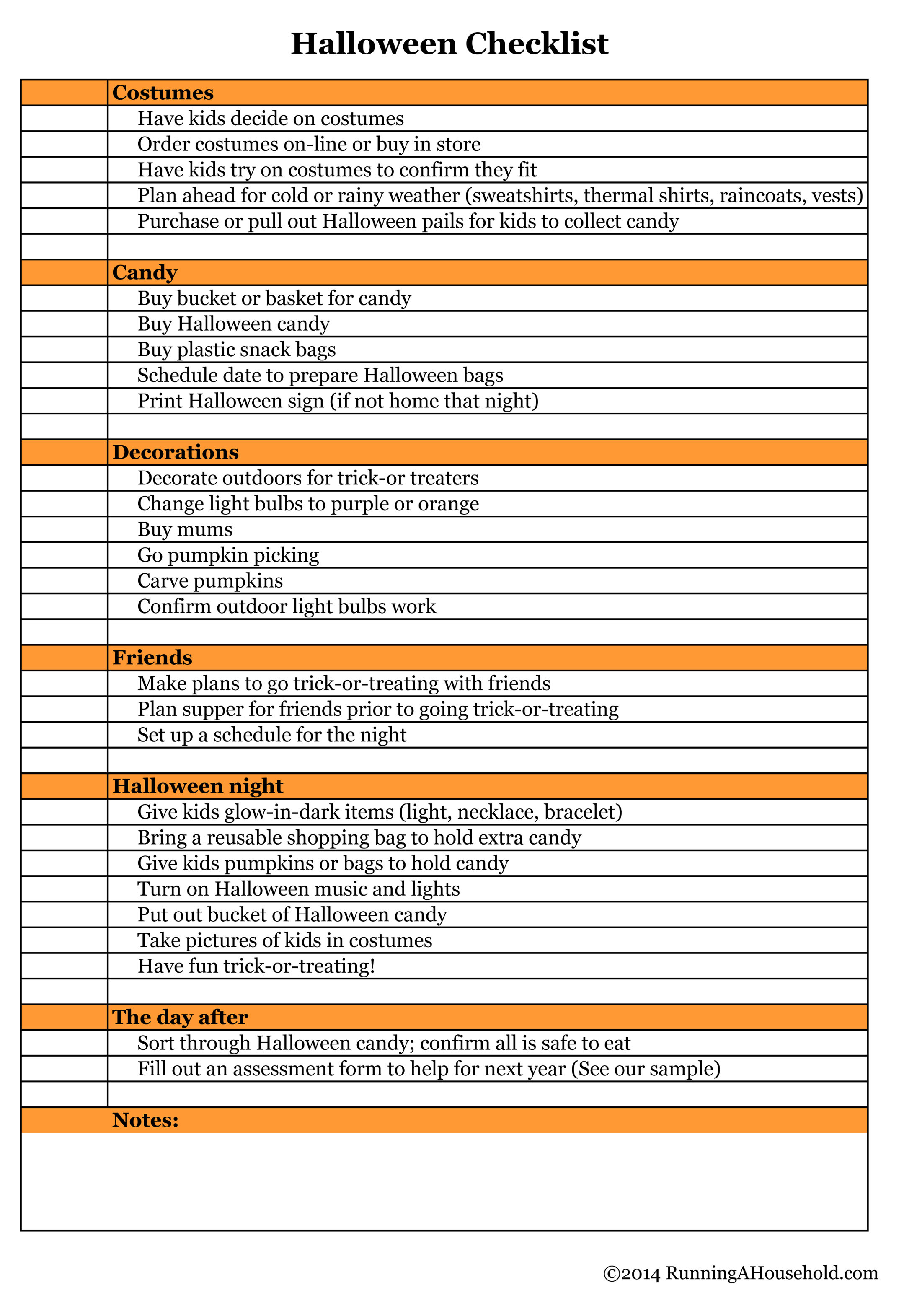 Household Checklist For October - Running A Household regarding Planning Date Night Checklist Template