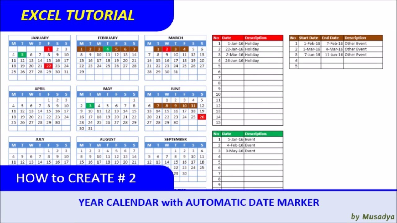 How To Create Excel Calendar For Specific Year With Automatic Date Marker in Excel 2020 Calendar Year Formula