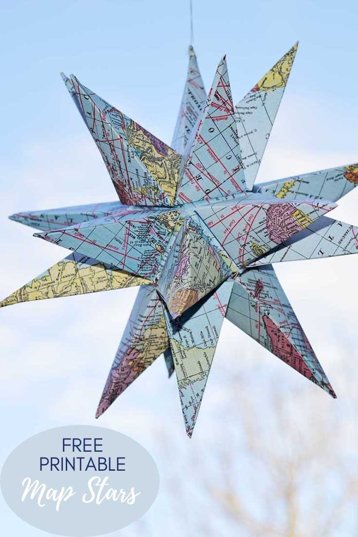 How To Make Gorgeous Free Printable Map Star Decorations - Pillar with Printable Christmas Tree Templates 3D