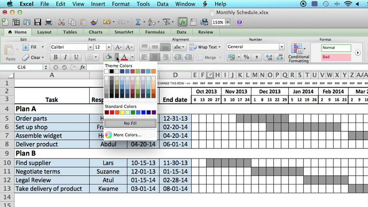 How To Use A Monthly Schedule In Microsoft Excel : Using Ms Excel intended for Calendar Planner Template Excel
