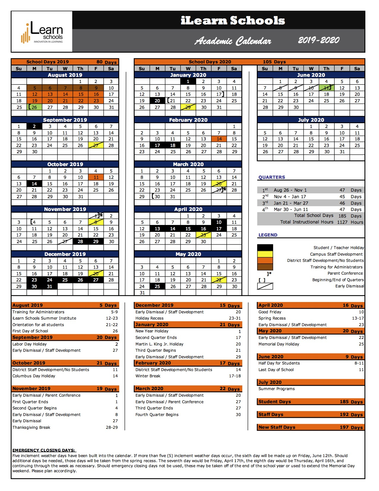 Ilearn Schools 2019-2020 Academic Calendar – Ilearn Schools for U Of M Calendar 2019-2020 School Year