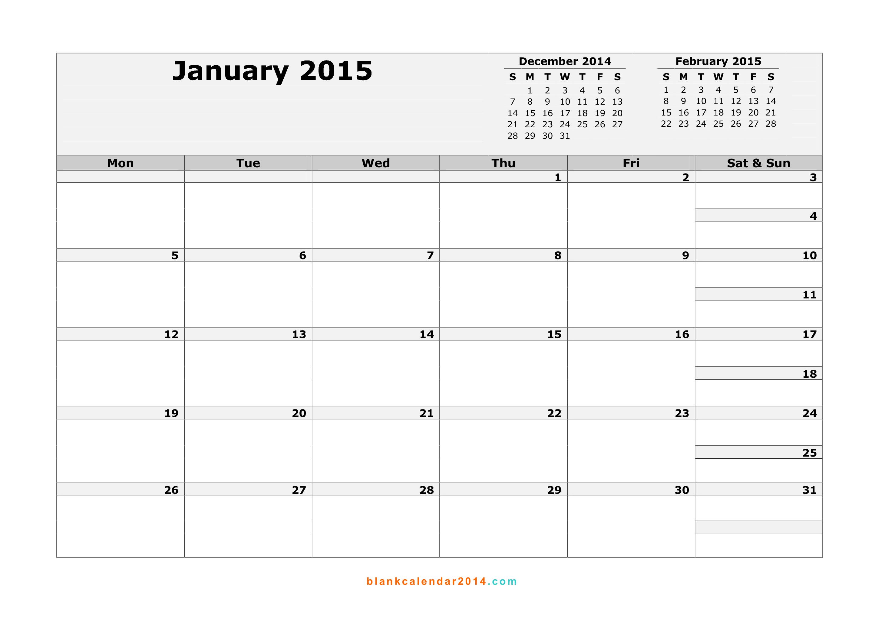 January 2015 Calendar – Free Printable Calendar Templates 2 | Chainimage regarding Editable 2015 Monthly Calendar Template