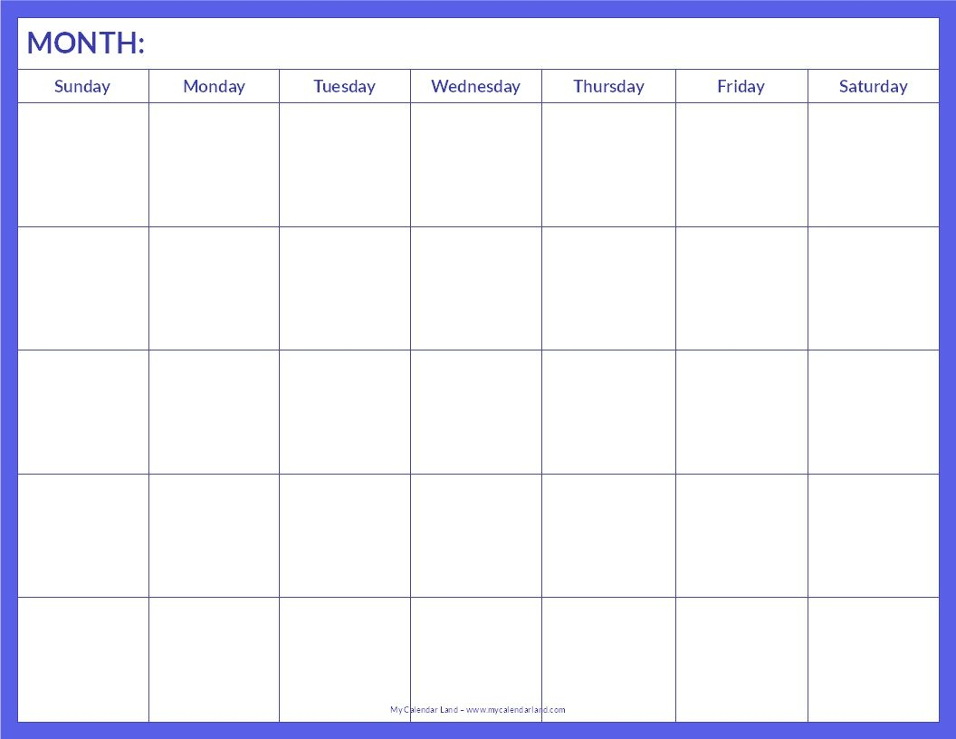 January 2015 Calendar Template Printable Blank Calendar Page - Blank for Printable Monthly Blank Calendar Page