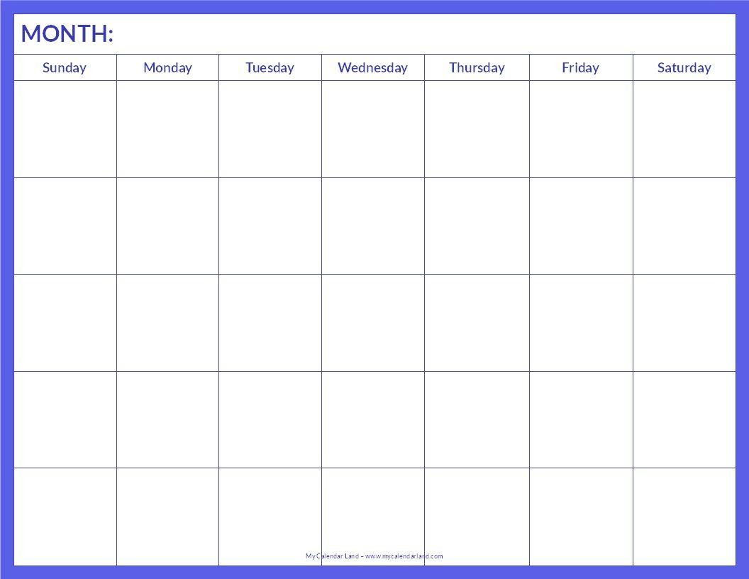 January 2015 Calendar Template Printable Blank Calendar Page - Blank for Template Of A Blank Calendar Of A Month