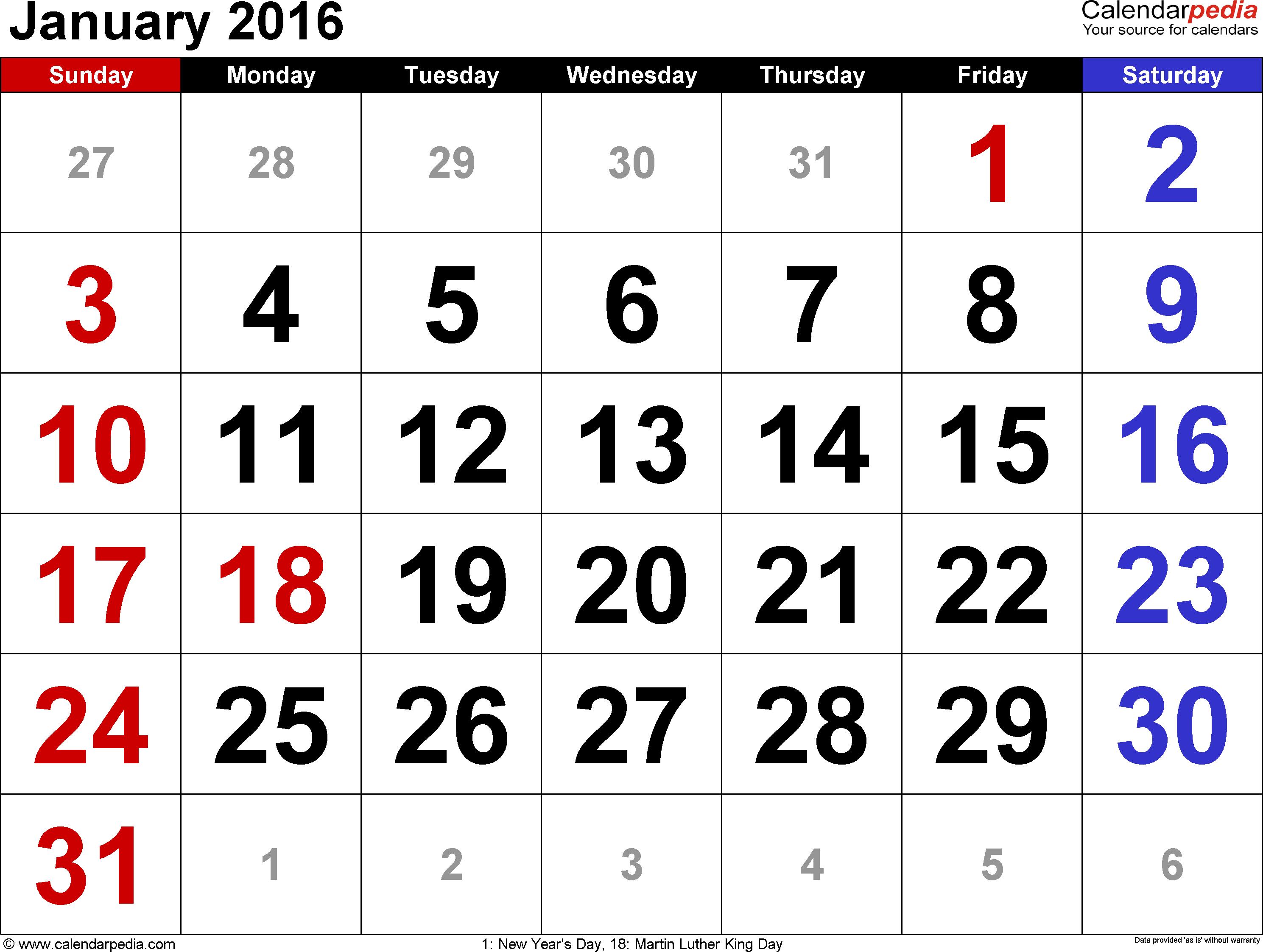 January 2016 Calendars For Word, Excel & Pdf intended for Philippine Blank July Calendar Printable