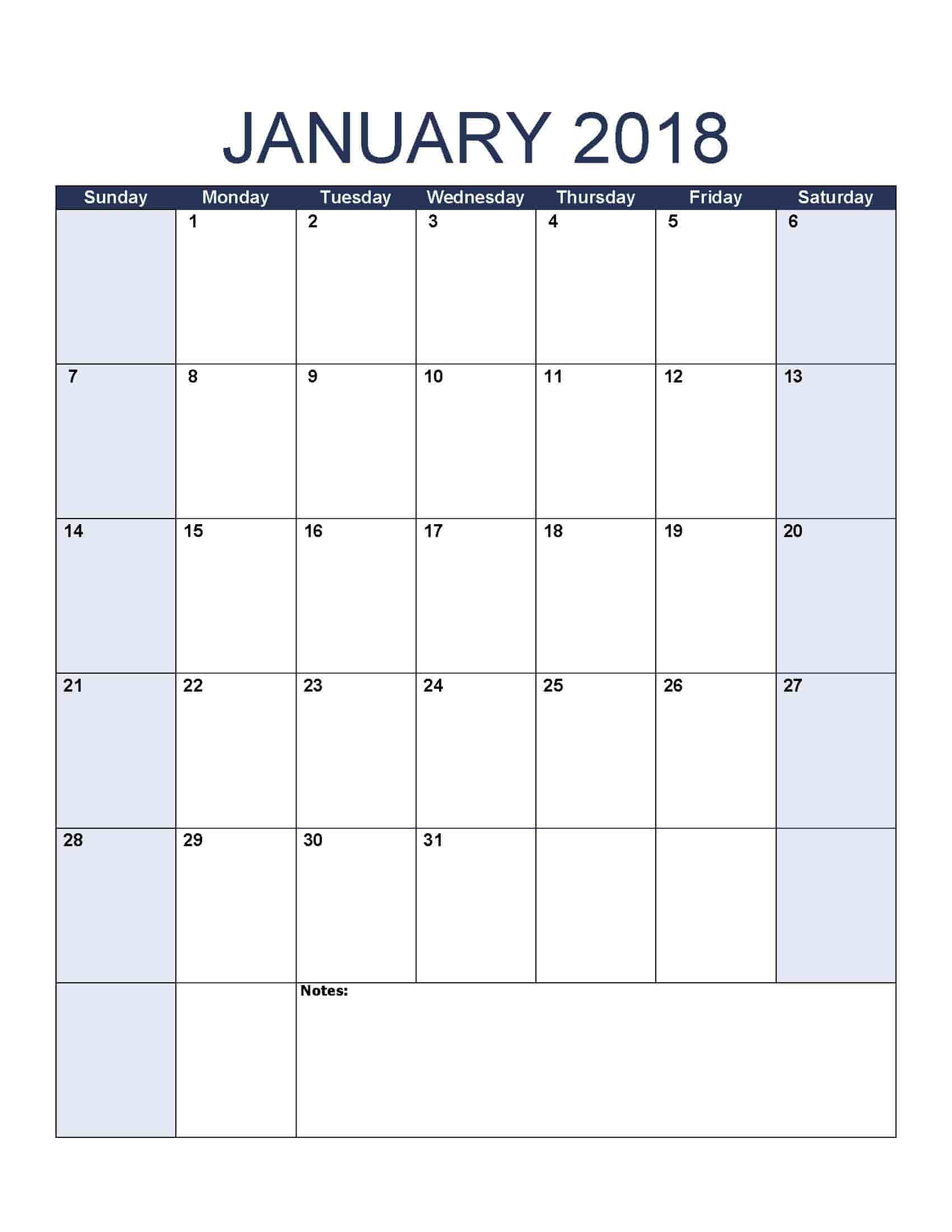 January 2018 Calendar - Free, Printable Calendar Templates intended for Print Blank Workday Calendar For August
