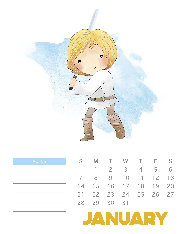 January 2018 Star Wars Calendar Template | Monthly Wallpaper in Star Wars Templates Printables Calendar