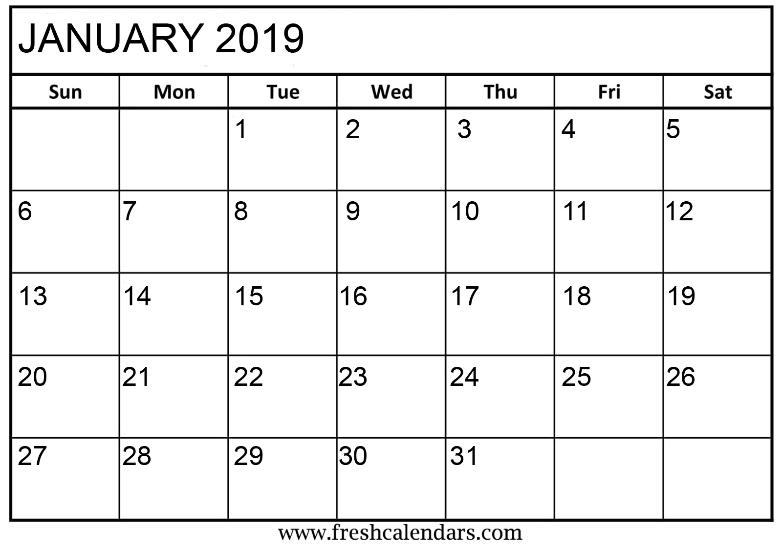 January 2019 Basic Printable Calendar - Printable Calendar 2019 in Blank Calendar Print-Outs Fill In With Holidays