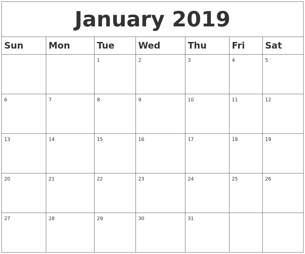 January 2019 Blank Calendar for Blank Printable Mini Calendar
