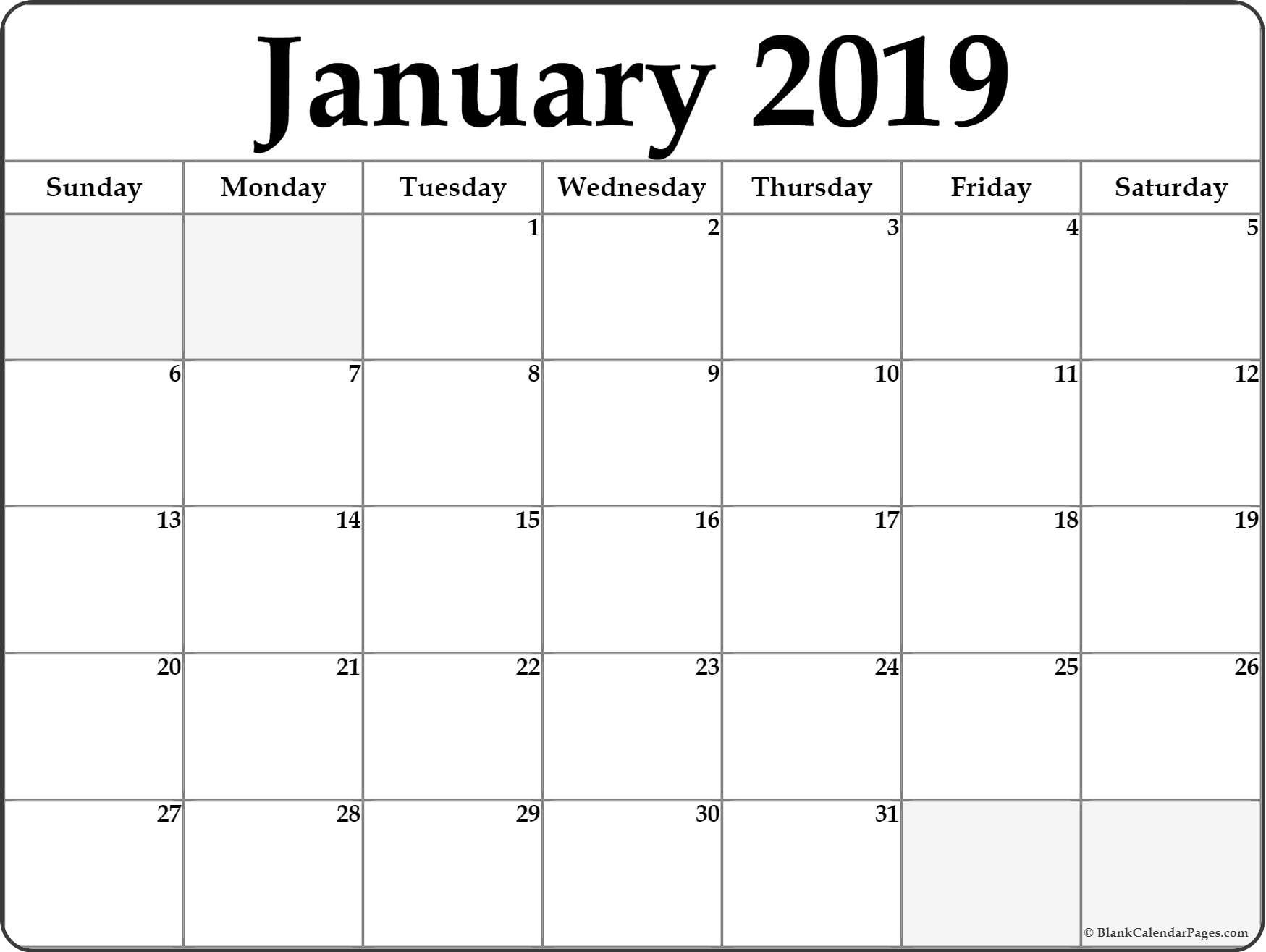 January 2019 Blank Calendar . January 2019 Calendar Printable regarding Blank Printable Calendar Pages Aug