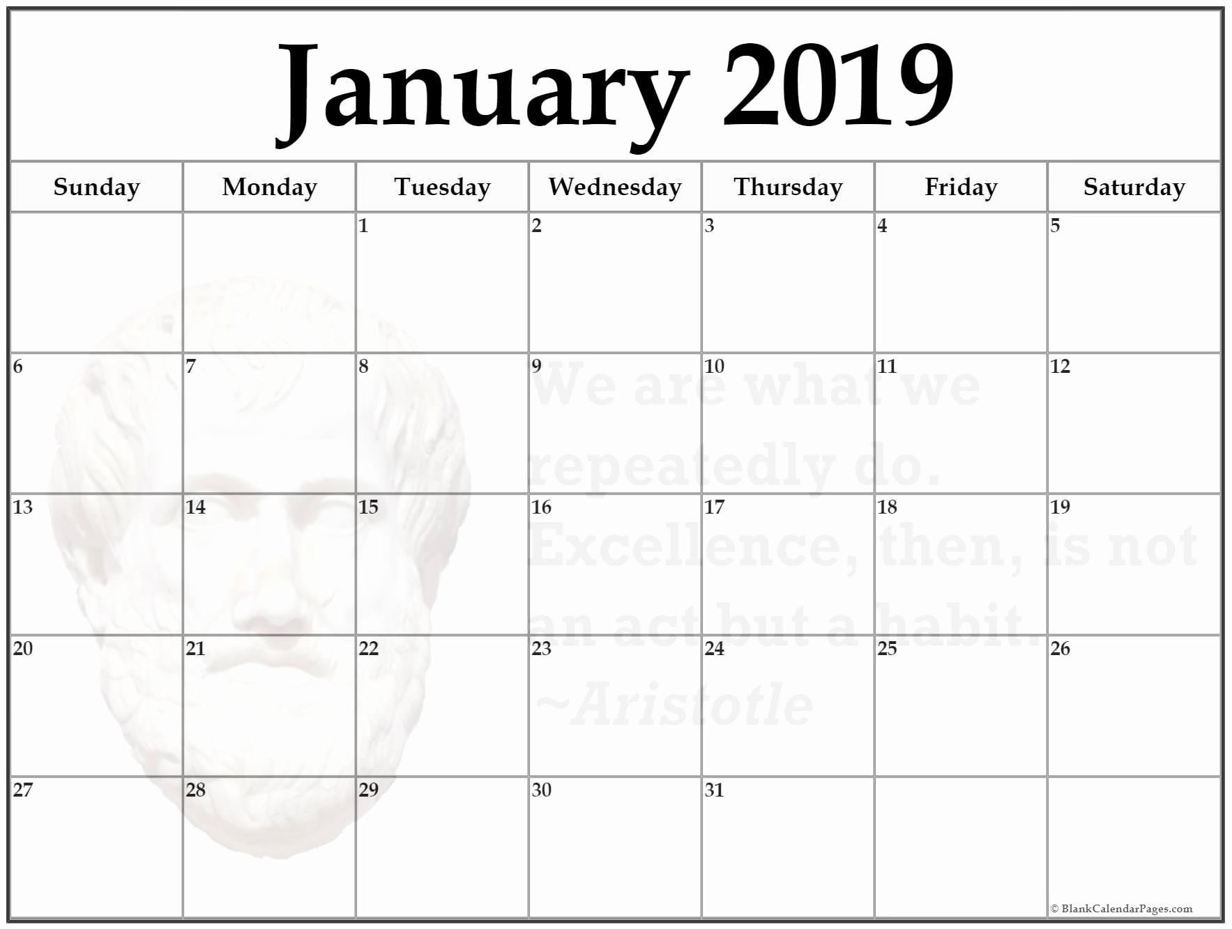 January 2019 Blank Printable Calendar 24 January 2019 Printable regarding Full Size Blank Printable Calendar