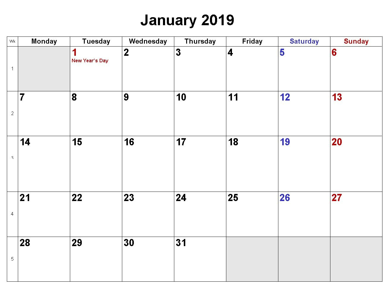 January 2019 Calendar Download In Word Excel Pdf Formats | Monthly for Monthly Calendar Printable Blank Pdf