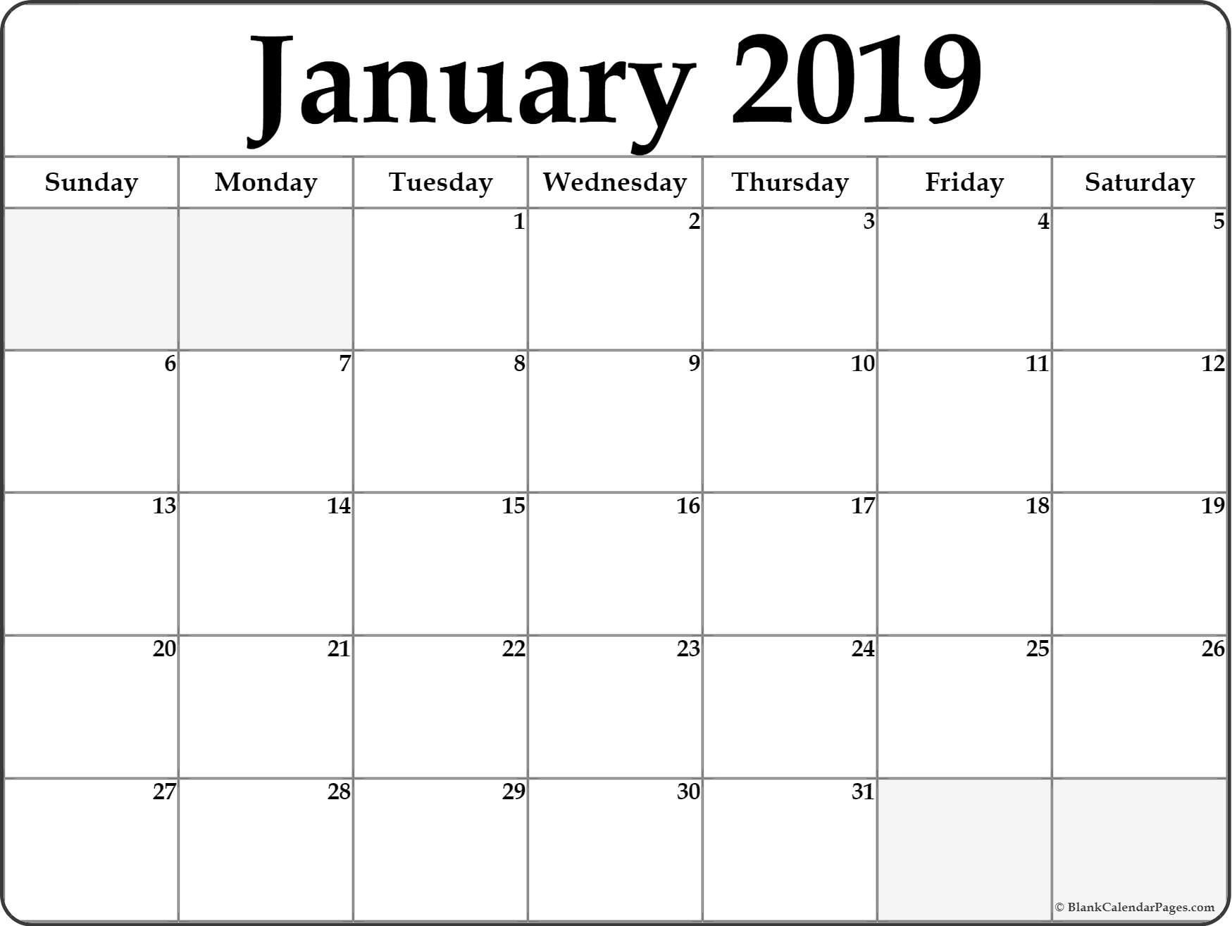 January 2019 Calendar | Free Printable Monthly Calendars intended for Blank Calendar Template Monday To Friday Only