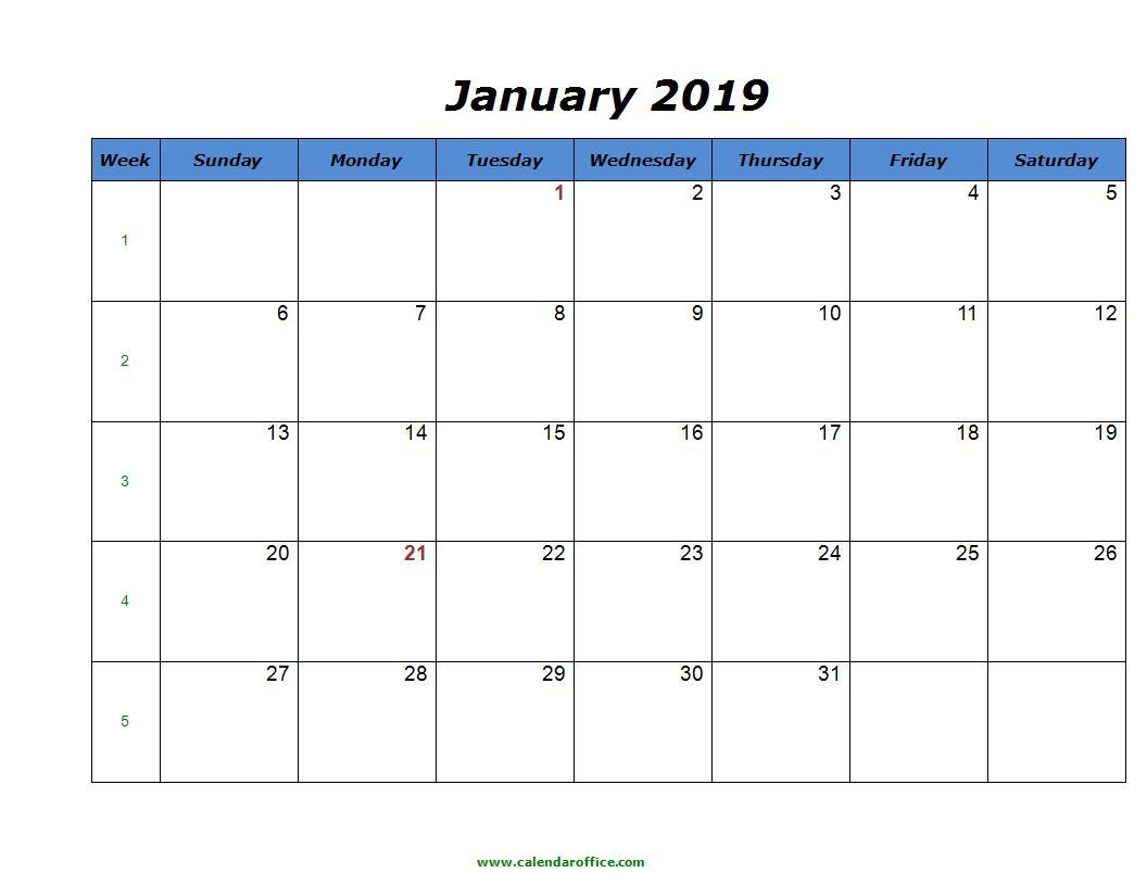 January 2019 Calendar Printable Blank Templates - Free Word Pdf in Calendar With Holidays Printable Templates