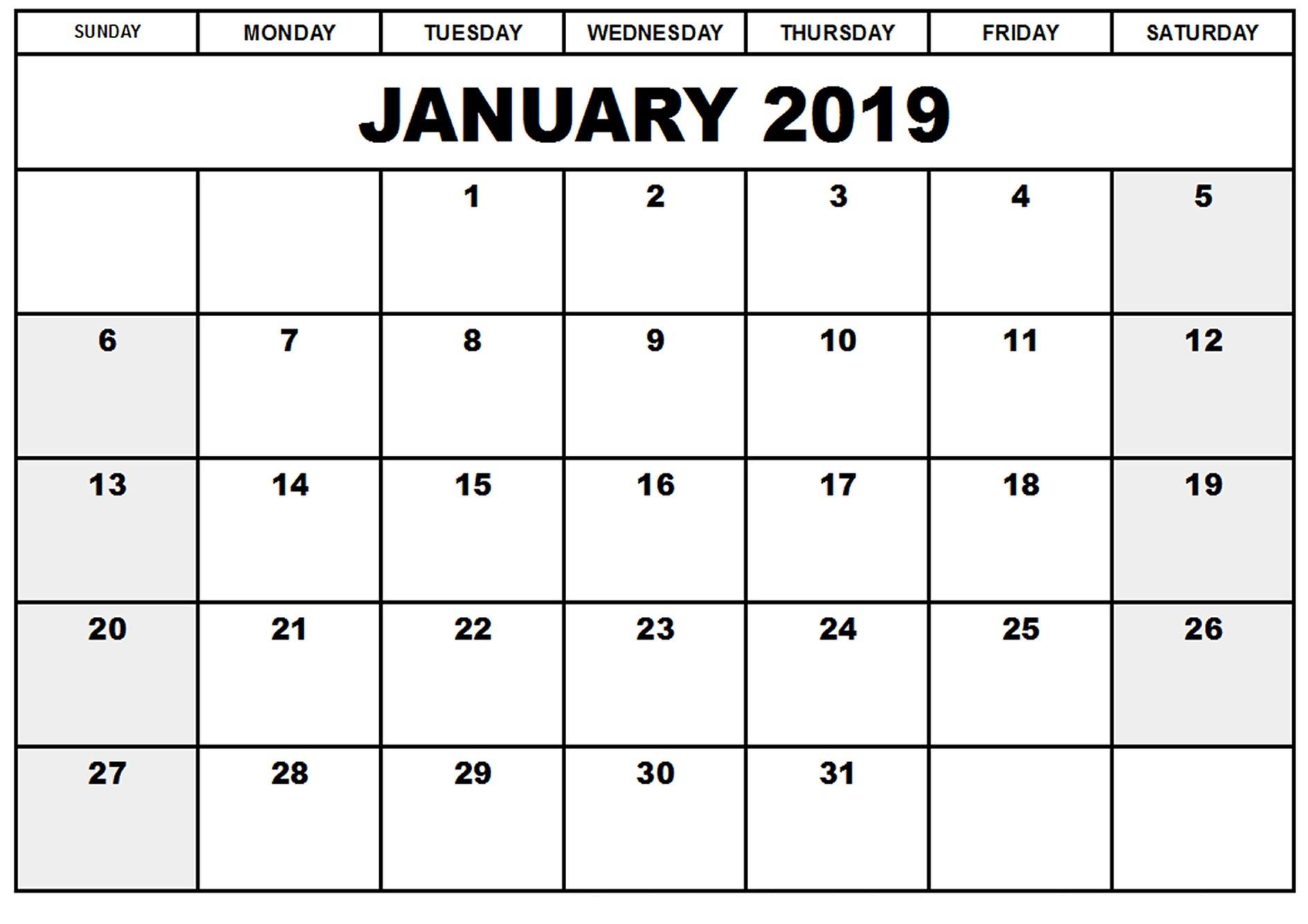 January 2019 Calendar Printable Blank Templates - Free Word Pdf pertaining to January Calendar Printable Template With Holidays
