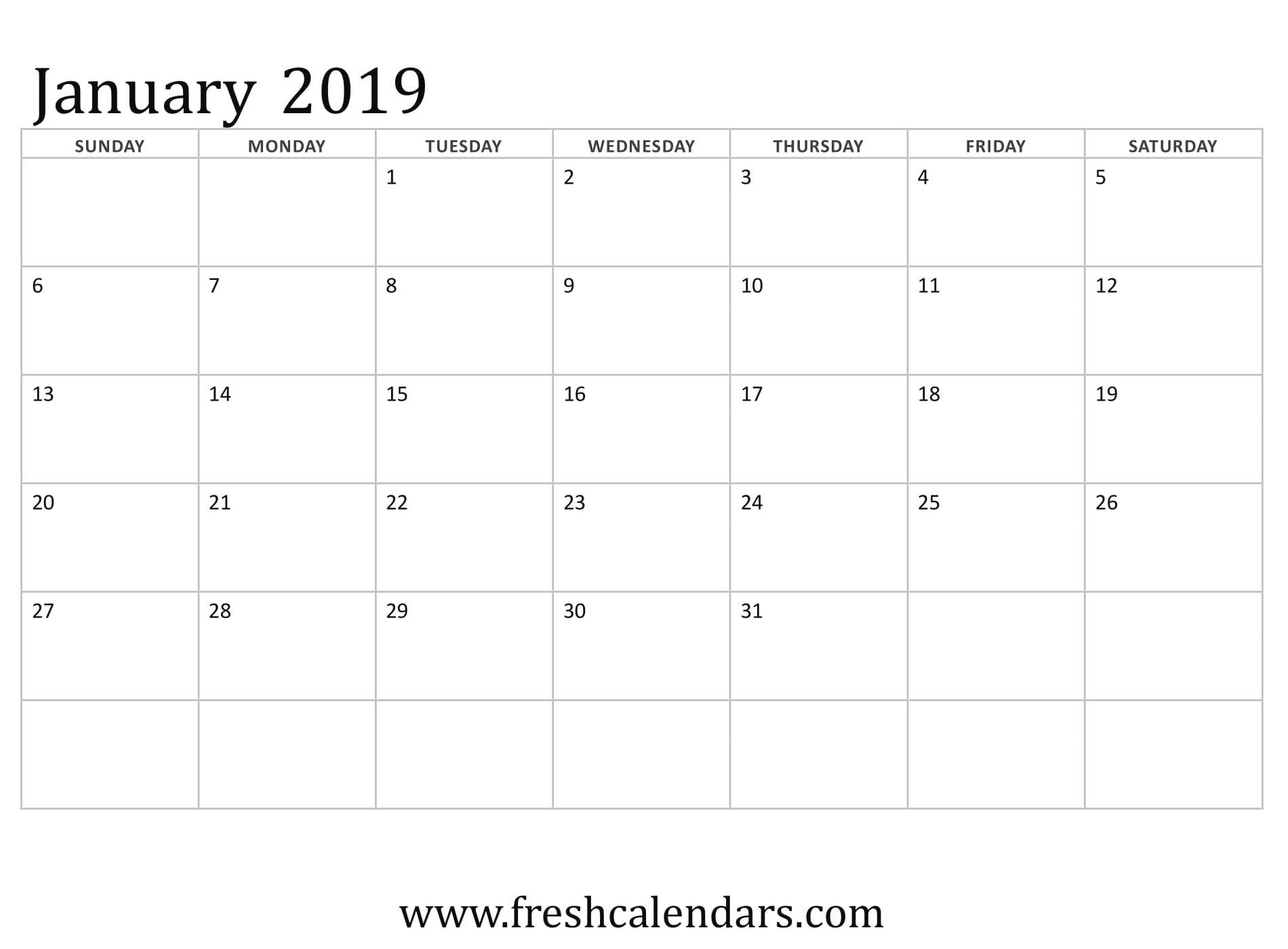 January 2019 Calendar Printable - Fresh Calendars in Monday Through Friday Calendar Template January Printable