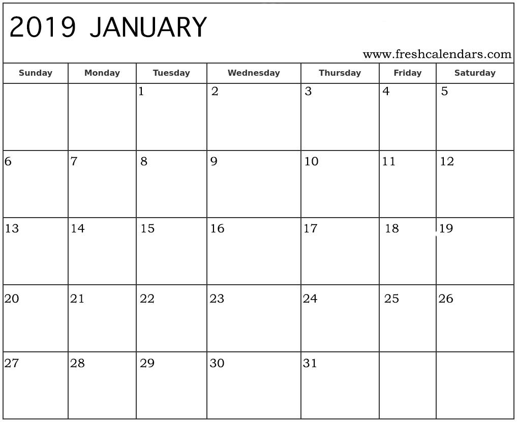 January 2019 Calendar Printable - Fresh Calendars with Large Blank Monthly Calendars January Printable