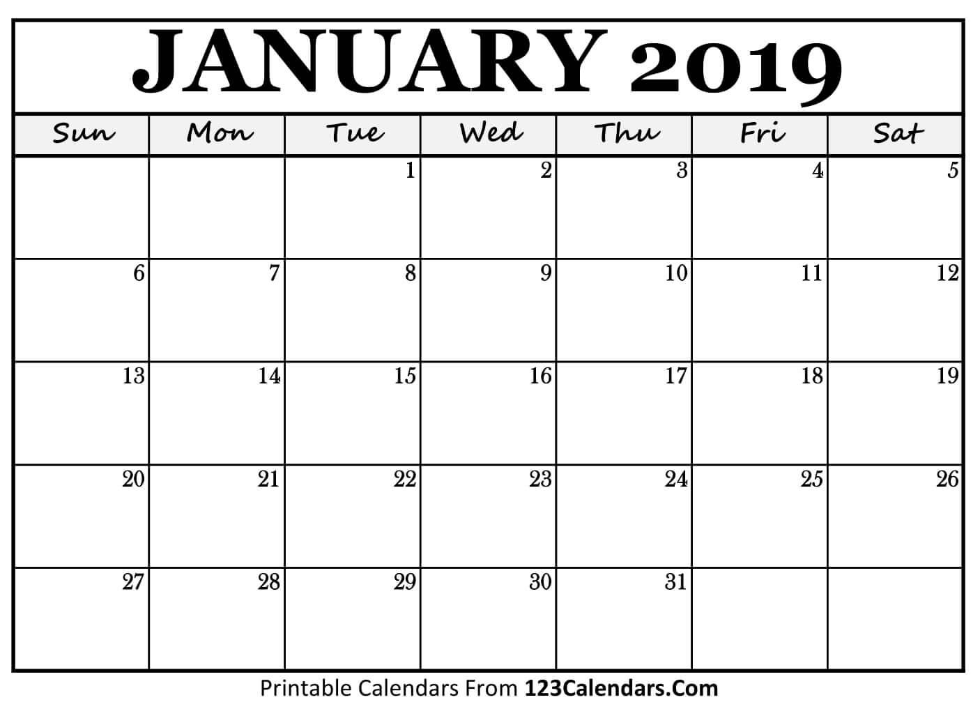 January 2019 Calendar Printable Template - Printable Calendar 2019 regarding January Calendar Printable Template With Holidays