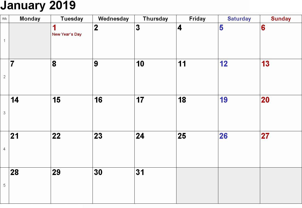 January 2019 Calendar Printable With Holidays | January 2019 with regard to January Calendar Printable Template With Holidays