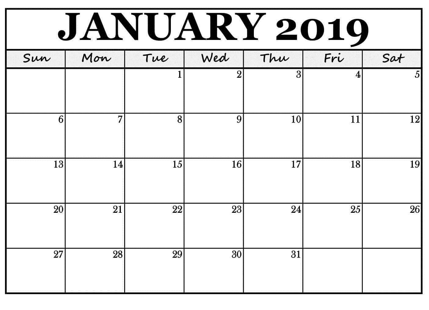 January 2019 Calendar Reminders Free Template   January 2019 inside Free Printable September Blank Calendars With Christian Themes