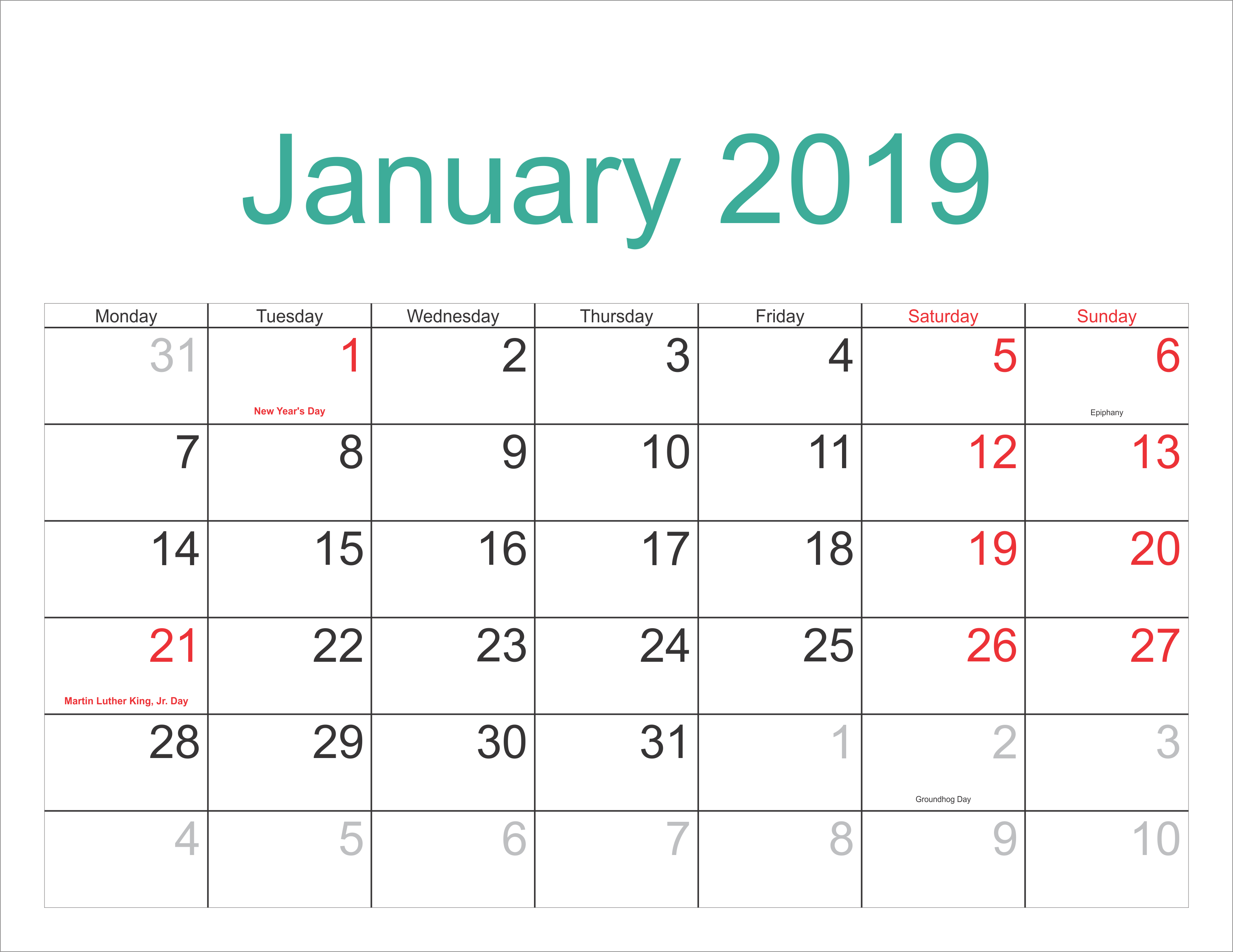 January 2019 Calendar Template With Holidays - Free Printable within Calendar With Holidays Printable Templates