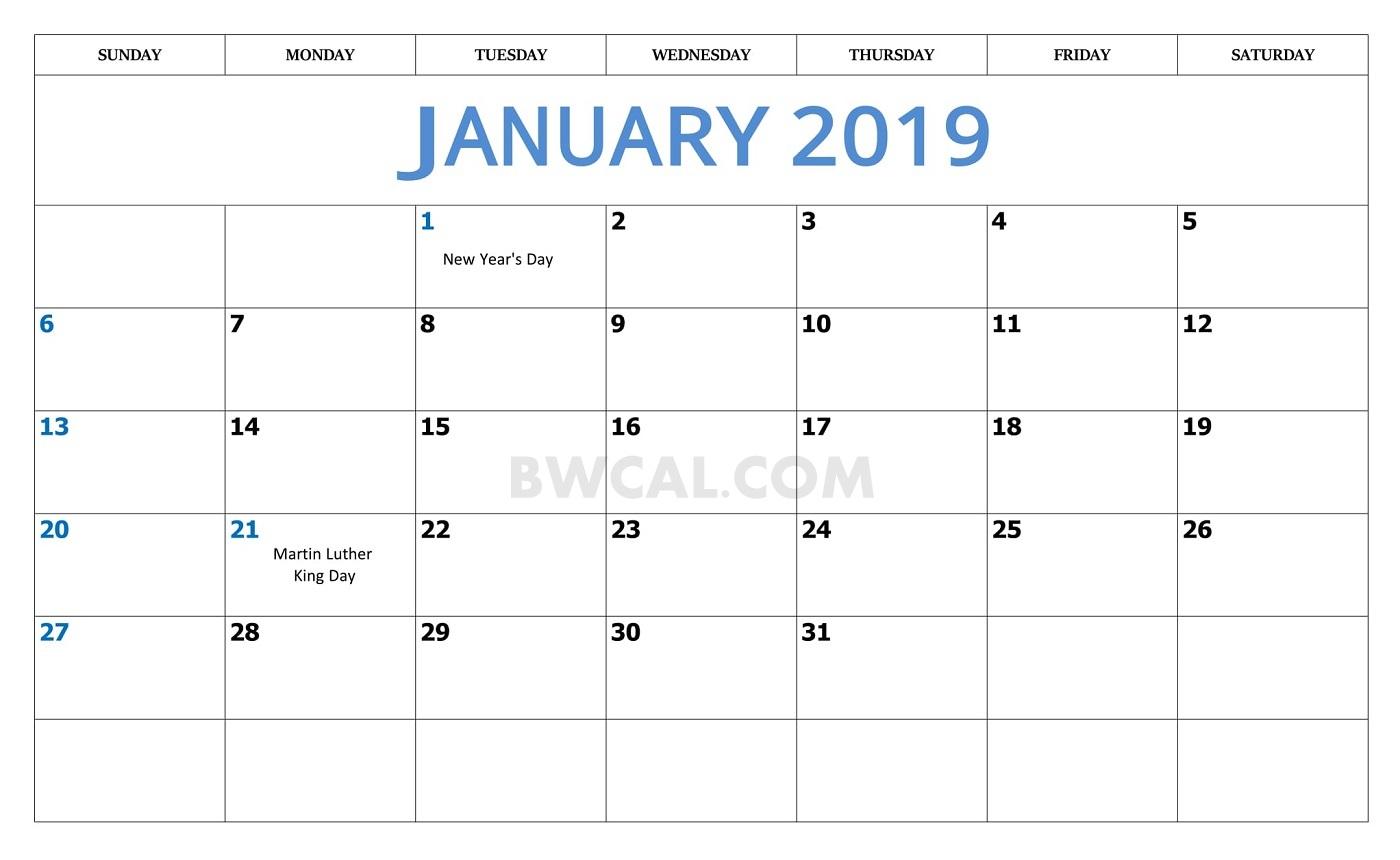 January 2019 Calendar Usa With Holidays - Free Printable Calendar with regard to January Calendar Printable Template With Holidays