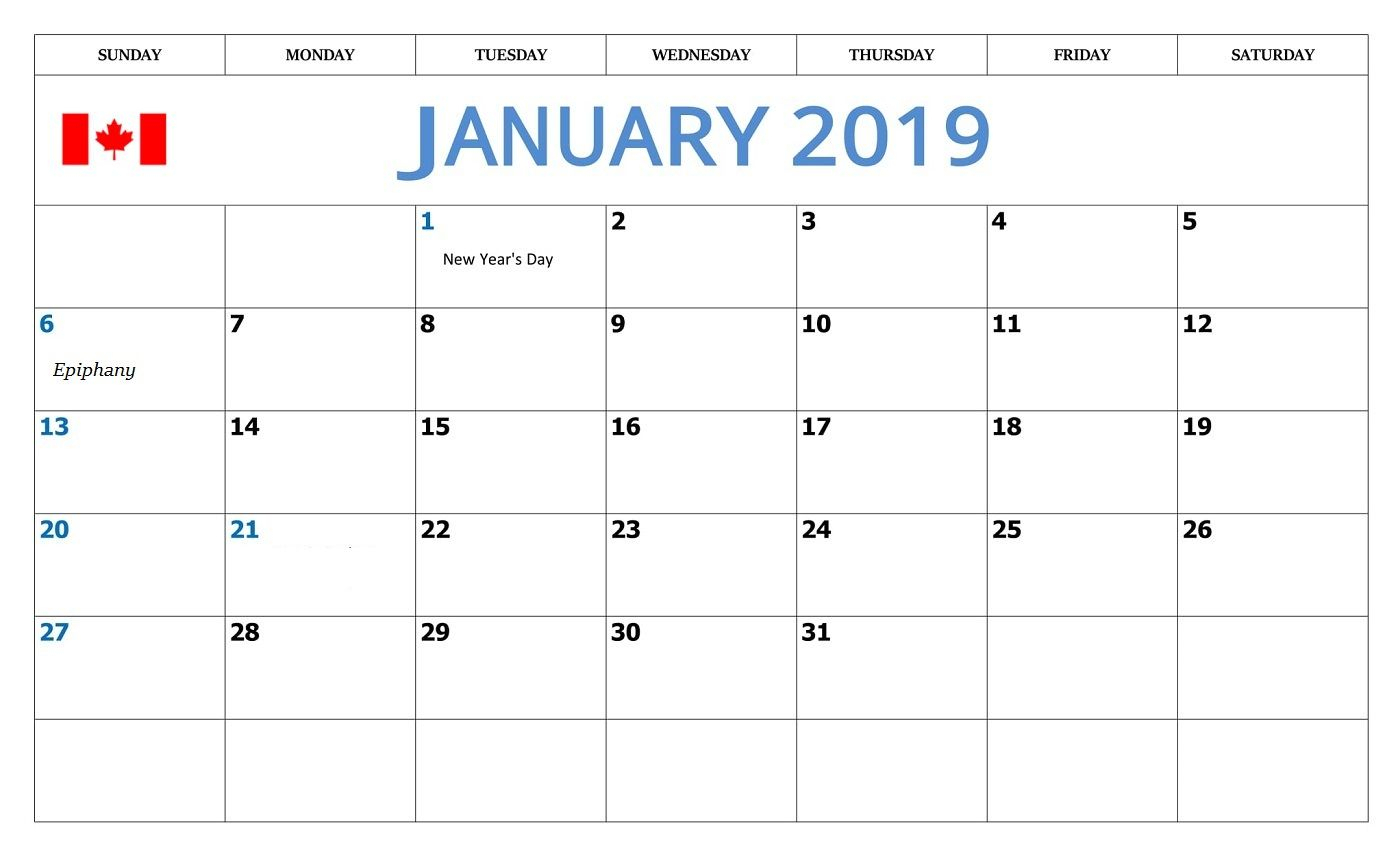 January 2019 Calendar With Canada Holidays | Monthly Calendar for Calendar With Holidays Printable Templates
