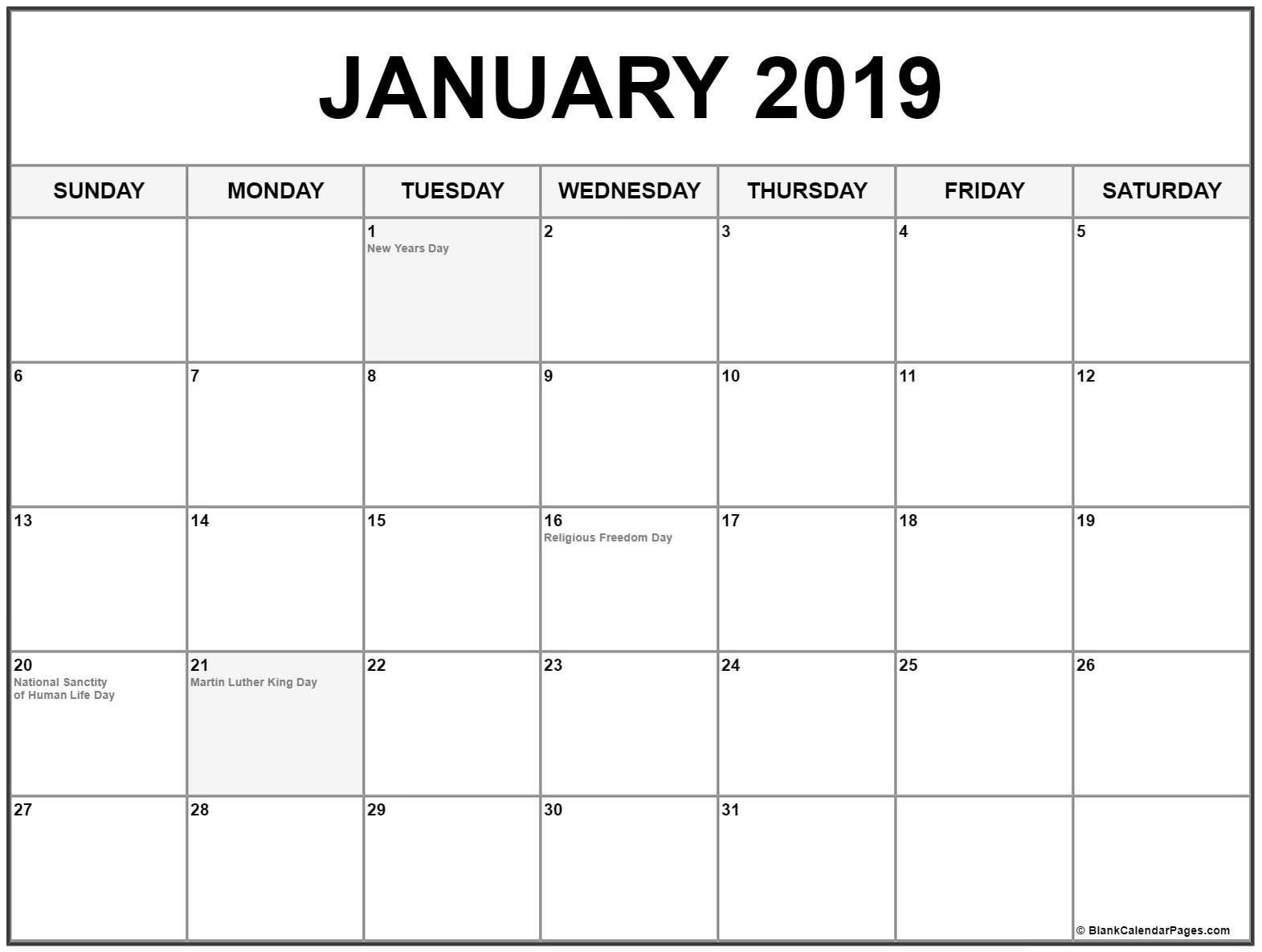 January 2019 Calendar With Holidays | Holiday Calendars | January regarding January Calendar Printable Template With Holidays