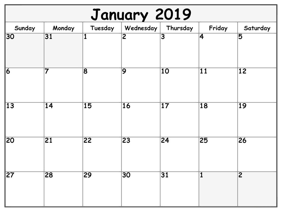 January 2019 Calendar With Holidays Template Free | Free Printable with Blank Calendar Print-Outs Fill In With Holidays