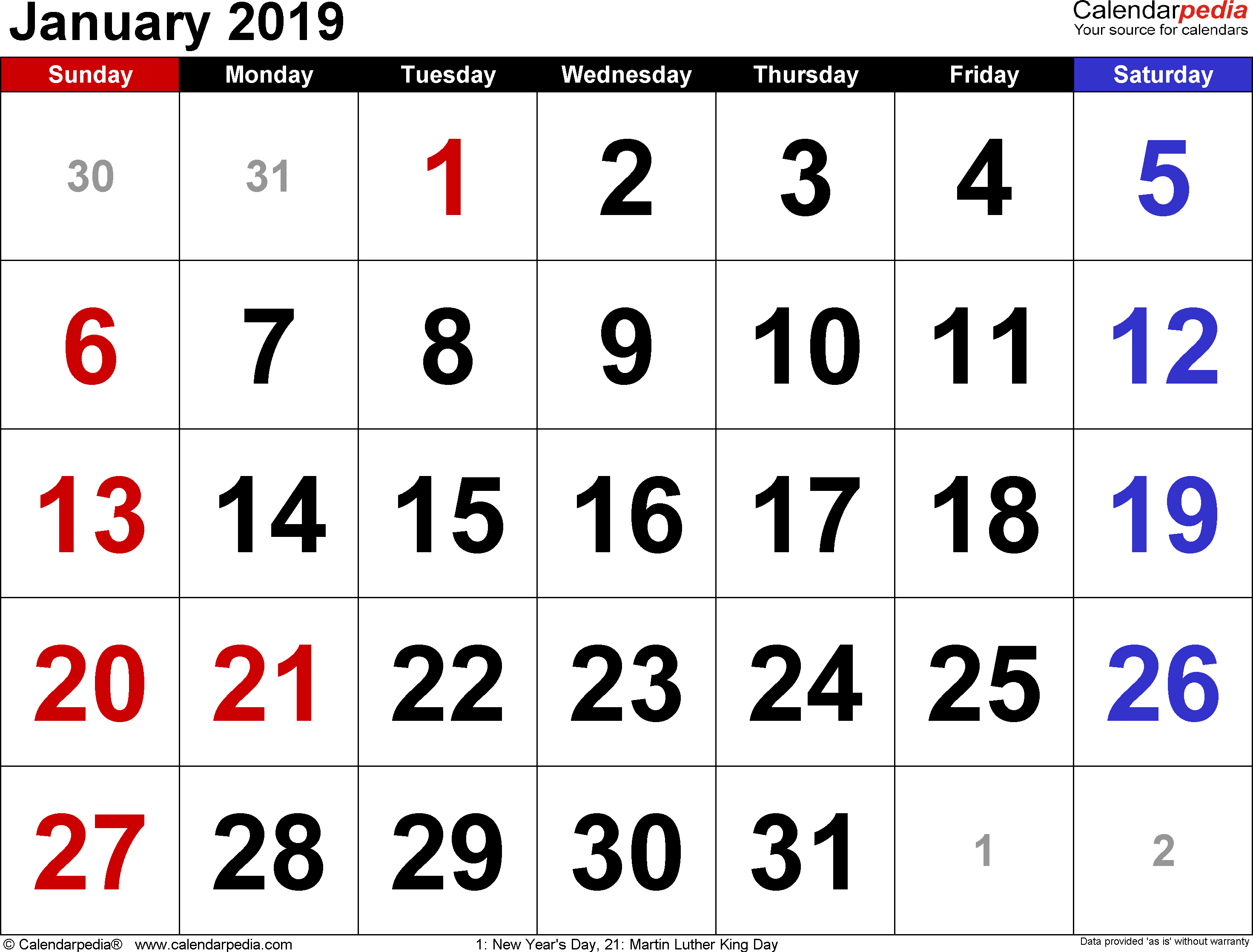 January 2019 Calendars For Word, Excel & Pdf regarding Large Blank Monthly Calendars January Printable