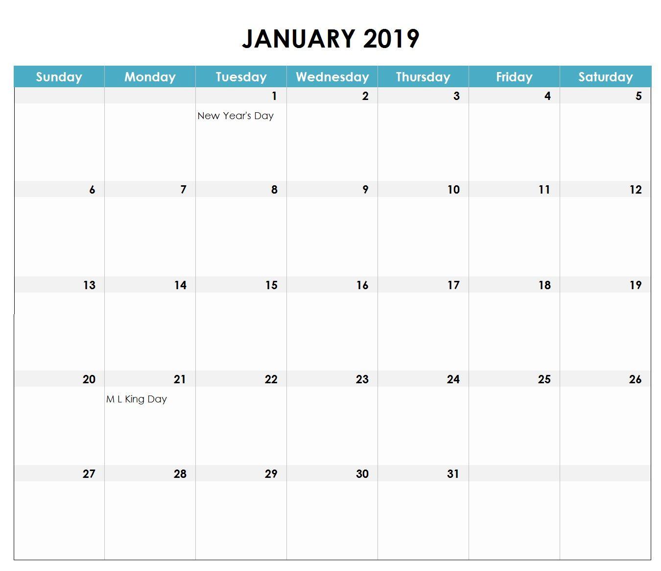 January 2019 Excel Calendar | Monthly Calendar Templates | Excel in Excel Monthly Calendar Template