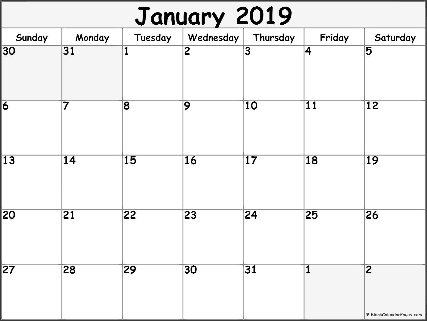 January 2019 Free Printable Blank Calendar Collection. With Calendar inside January Calendar Printable Template With Holidays