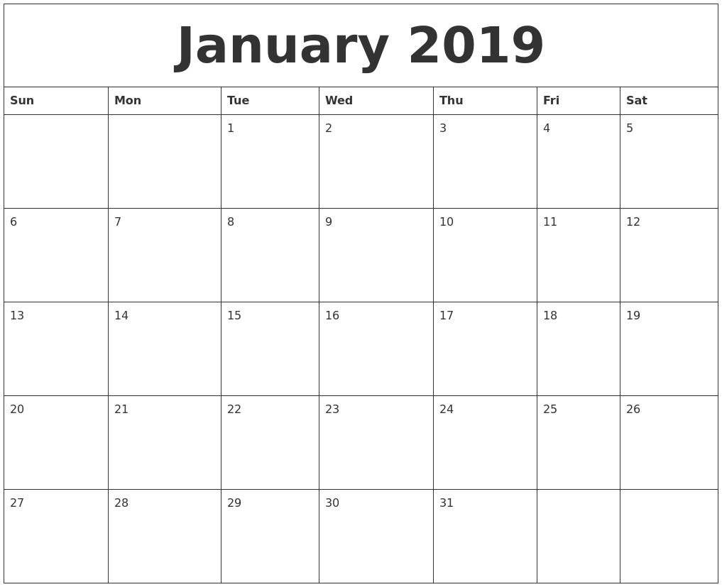 January 2019 Large Printable Calendar inside Large Blank Monthly Calendars January Printable
