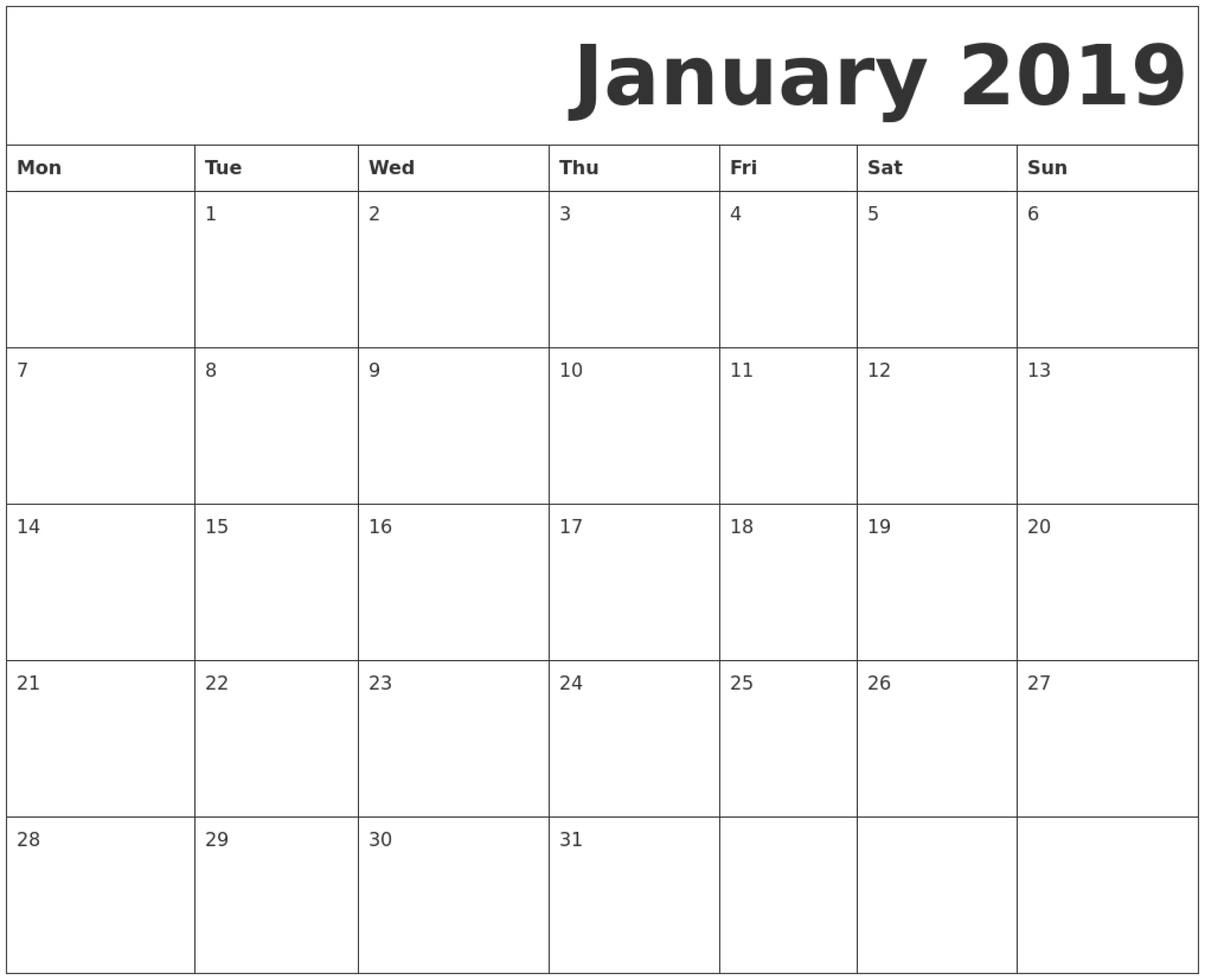 January 2019 Printable Calendar Monday Start. | January 2019 for Calendar Blank Printable Monday Start A4