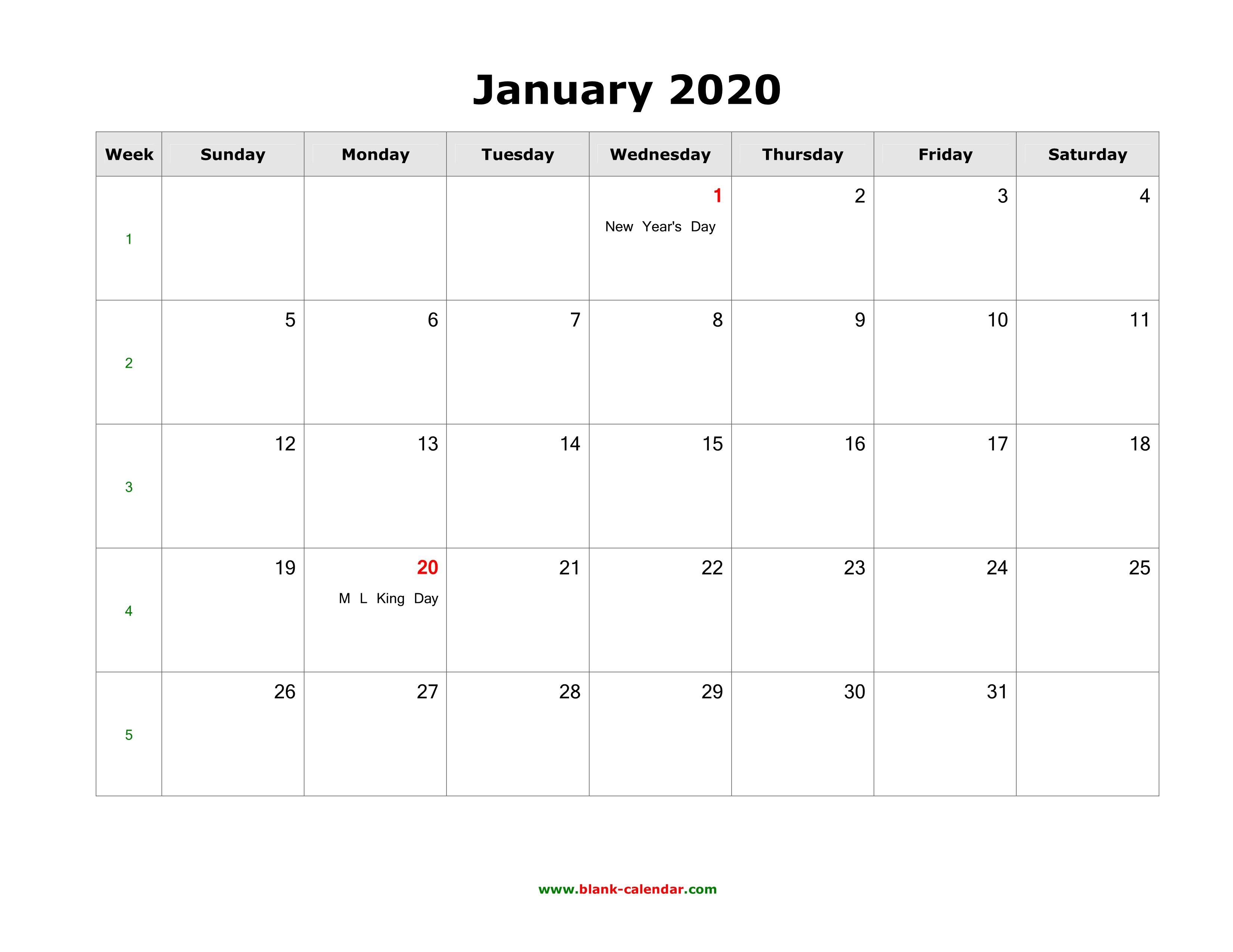 January 2020 Blank Calendar | Free Download Calendar Templates throughout Blank 2020 Calendars To Edit