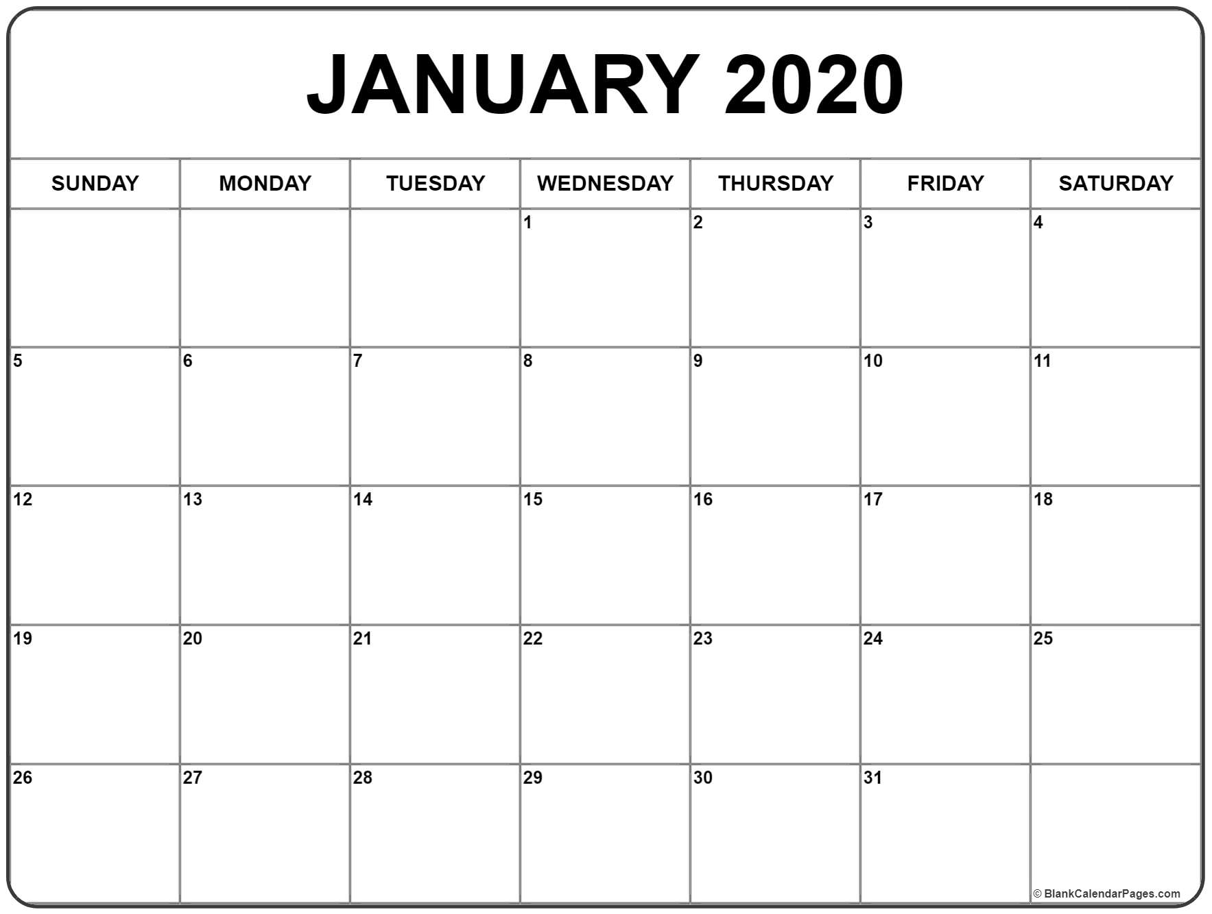January 2020 Calendar | Free Printable Monthly Calendars for Blank 2020 Calendar Starting On Saturday Printable Free