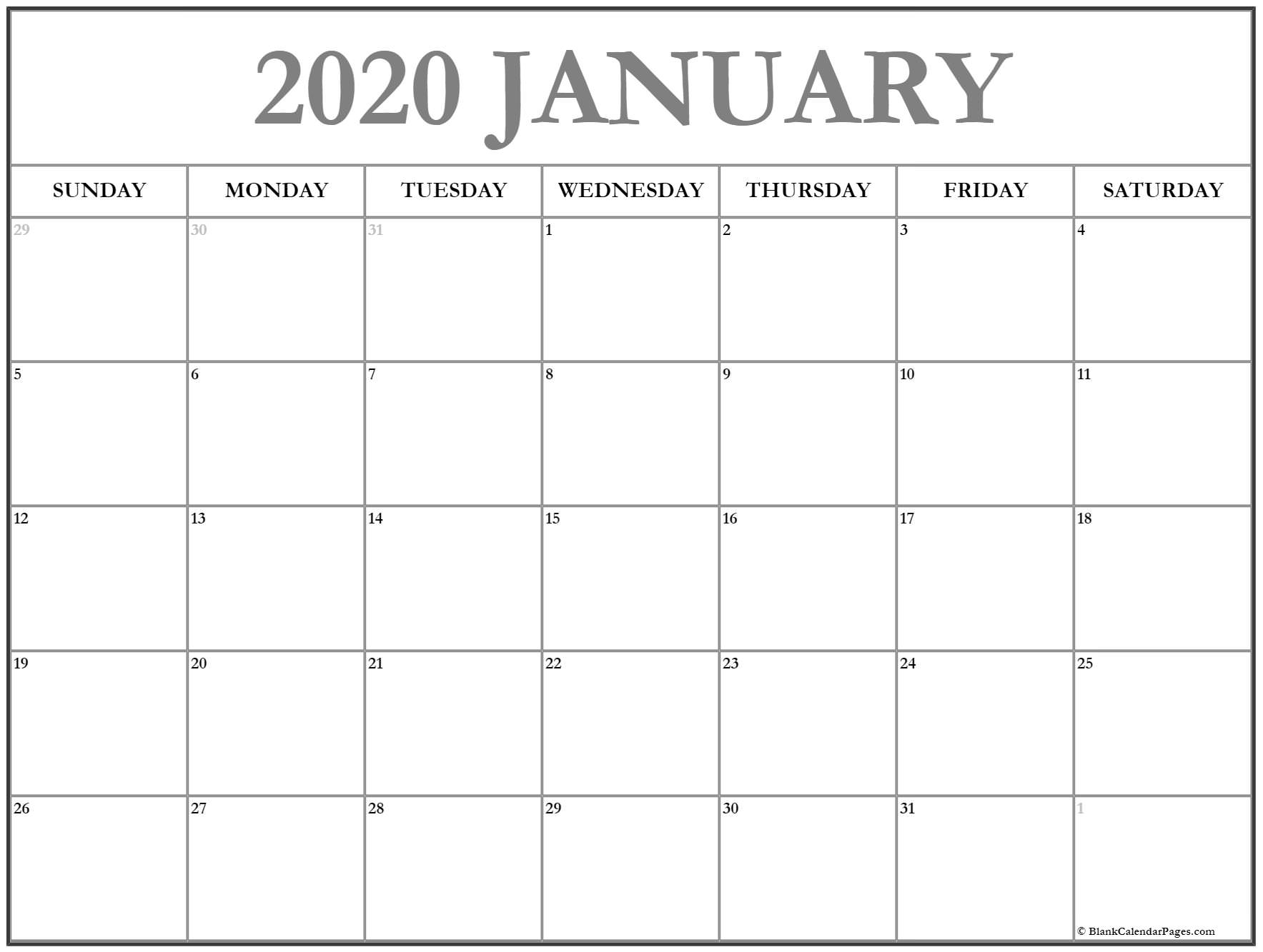 January 2020 Calendar | Free Printable Monthly Calendars for Printable 2020 Monthly Calendars Starting With Monday