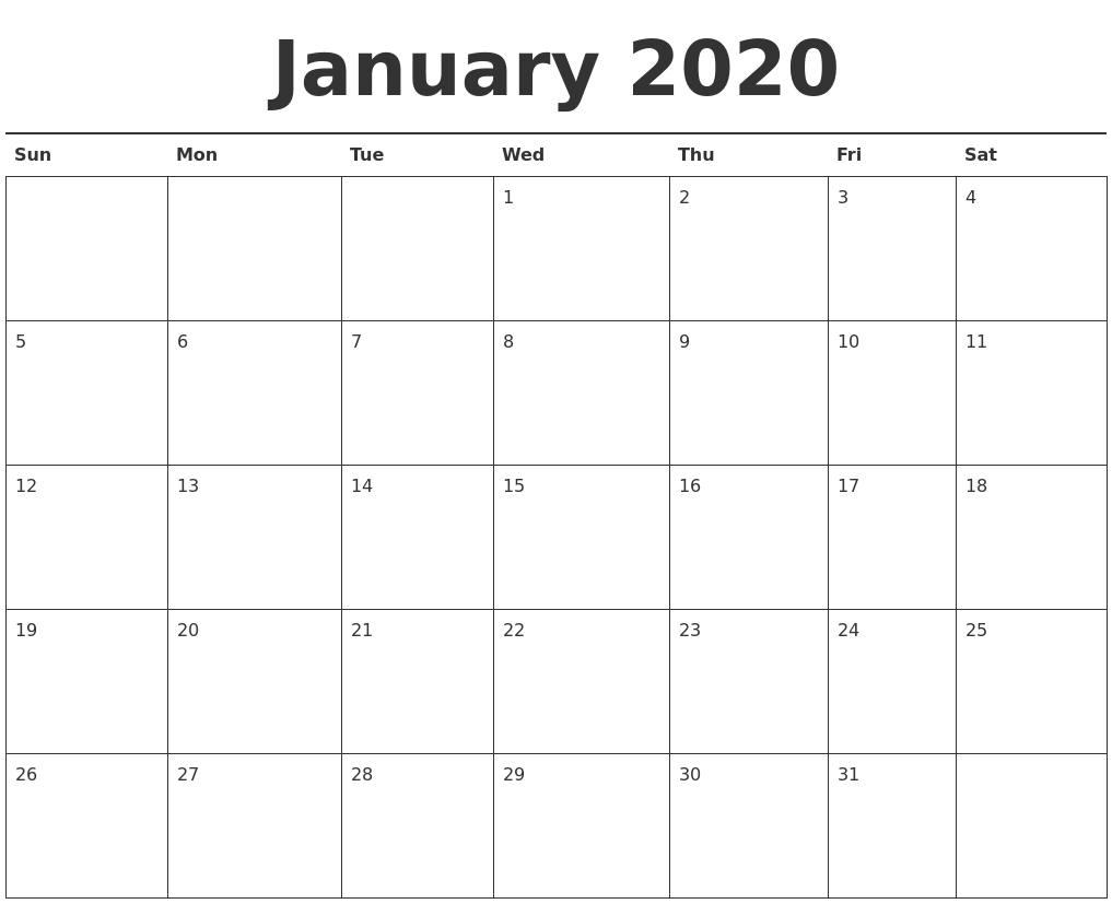 January 2020 Calendar Printable with regard to 2020 Monday - Friday Calendar Printable