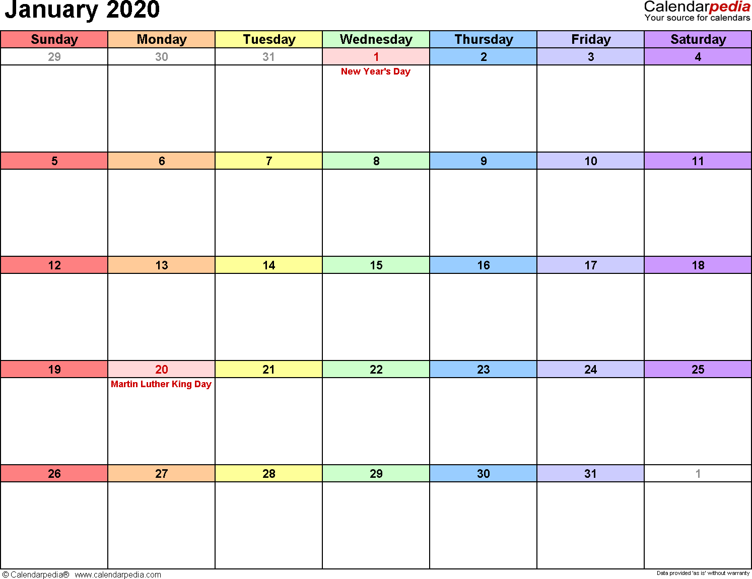 January 2020 Calendars For Word, Excel & Pdf with 2020 Calender With Space To Write