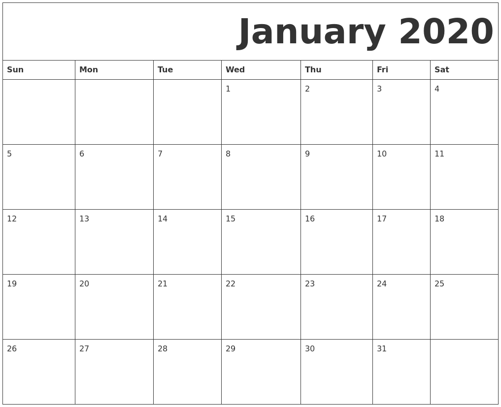 January 2020 Free Printable Calendar for 2020Free Printable Calendars Without Downloading