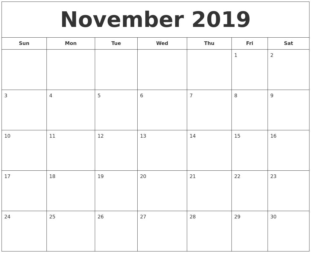 January 2020 Free Printable Calendar Within Bravo November 2019 To regarding Free Printable Calendars 2020 Waterproof