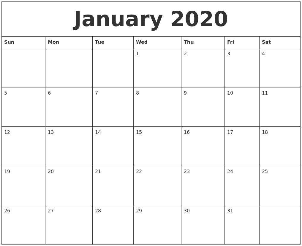 January 2020 Large Printable Calendar for 2020 Free Printable Calendar Large Numbers