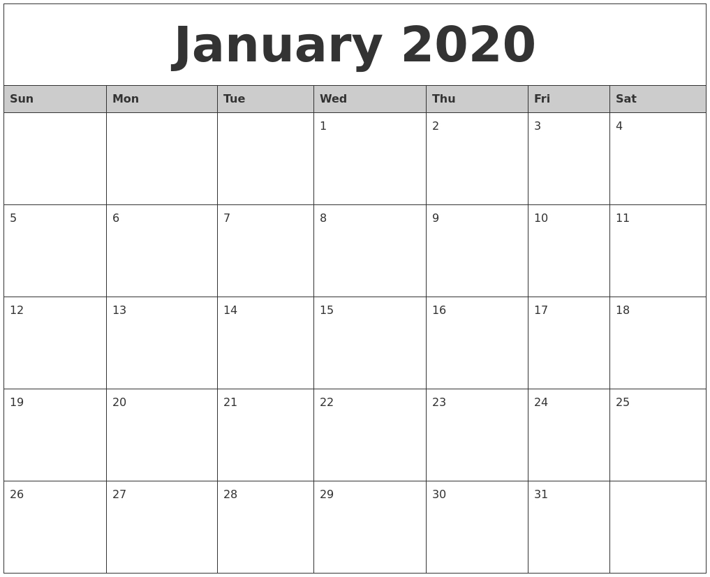 January 2020 Monthly Calendar Printable for 2020 Monday - Friday Calendar Printable