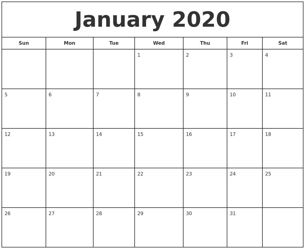 January 2020 Print Free Calendar pertaining to 2020 Calendar Printable Free Pdf