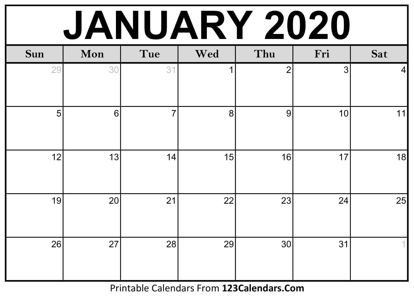 January 2020 Printable Calendar | 123Calendars for National Day Calendar 2020 Printable