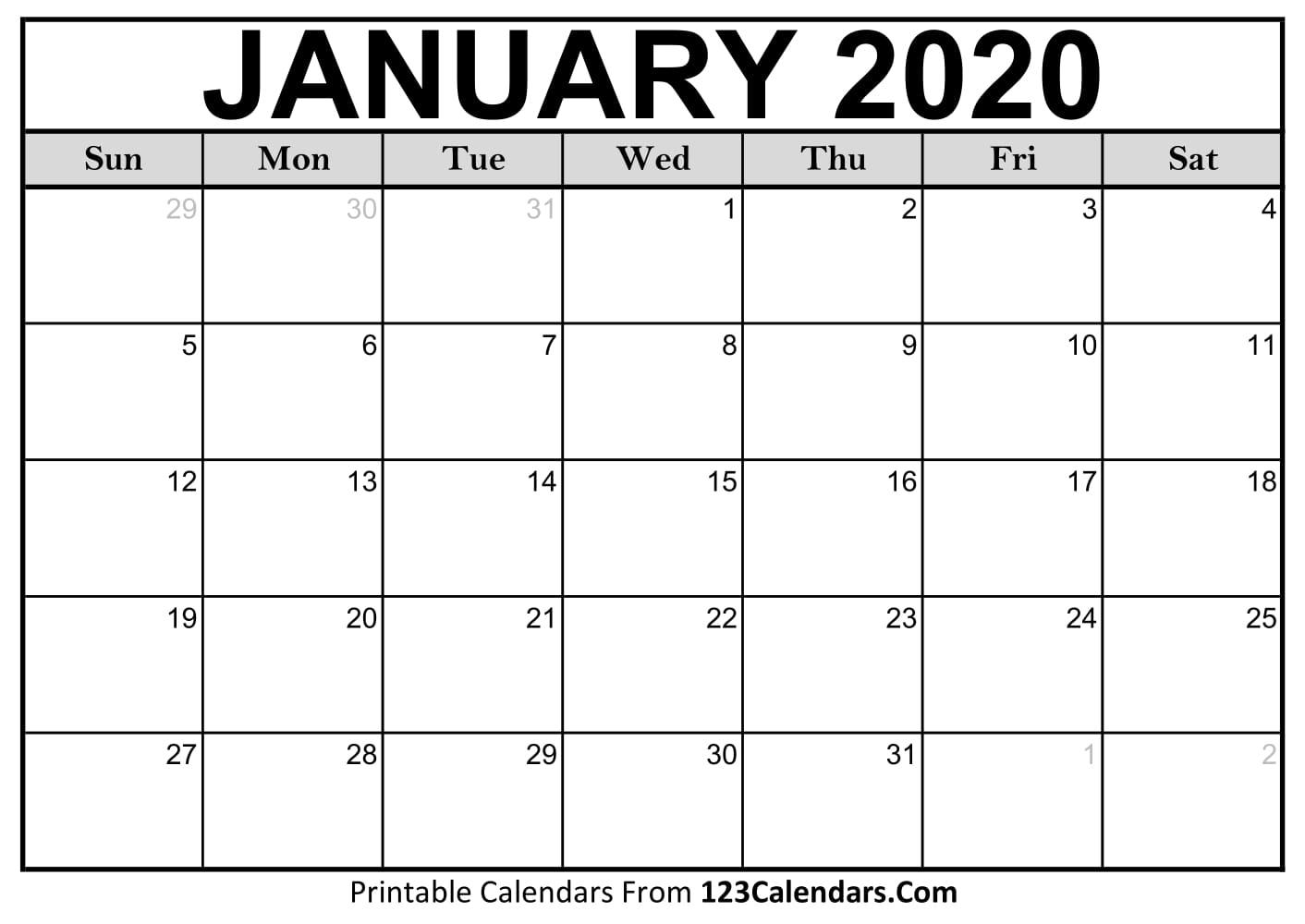 January 2020 Printable Calendar | 123Calendars regarding Blank Printable Calendar M-F