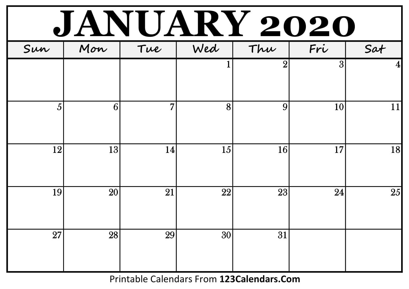 January 2020 Printable Calendar   123Calendars with regard to Large Blank Monthly Calendars January Printable
