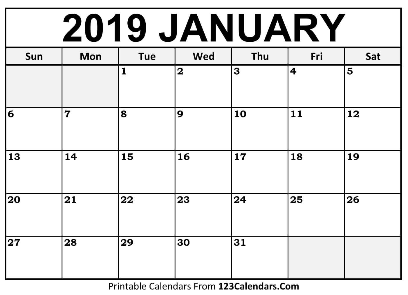 January Calendar 2019 | Blank January 2019 Calendar Printable Free within Free Printable Blank Calendar August-December